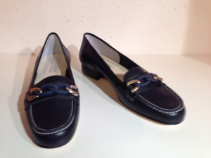 Gabriele - Leder Loafer mit Applikationen - marine